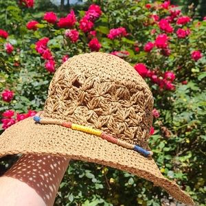 Crochet Straw Hat with Colored Trim